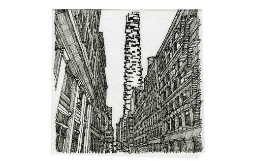 """""""Napkins of New York II: Corner of Leonard and Hudson Streets"""" by Kevin Utsey, Clark Nexsen, Charlotte, NC - a winner of the 2018 Cocktail Napkin Sketch Contest. Image via Architectural Record."""