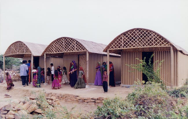 Paper Log House, 2001, Bhuj, India. Photo by Kartikeya Shodhan