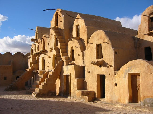 Ksar Ouled Soltane –grain houses nearby Matmata that involve mud-brick domed structures. Credit: Wikipedia