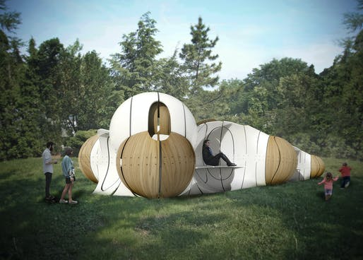 Folly 2015 winner: Torqueing Spheres by IK Studio. Image courtesy of The Architectural League of New York.