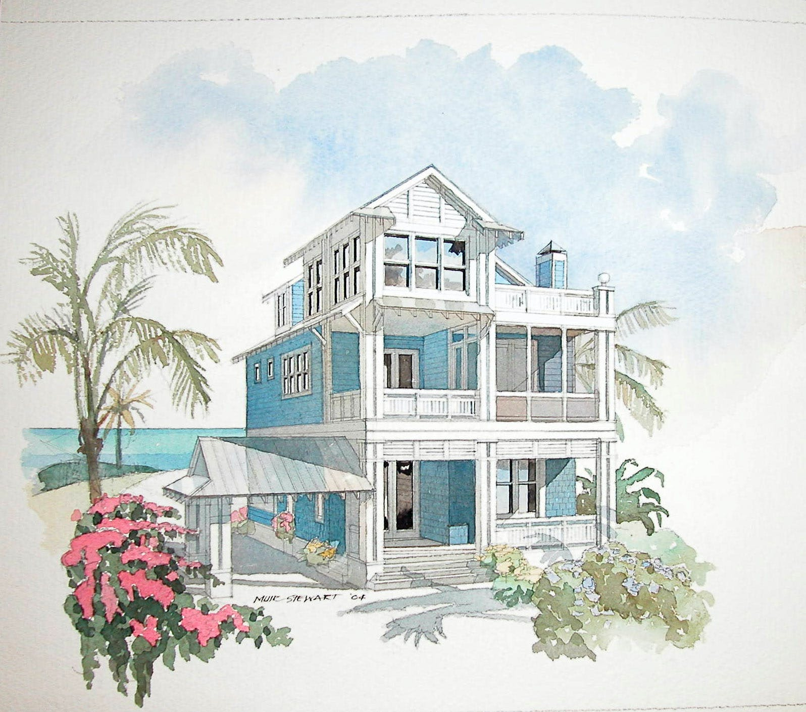 coastal home design. Water Color of Family Central by Mur Stewart COASTAL HOME DESIGN  Mel Snyder Archinect