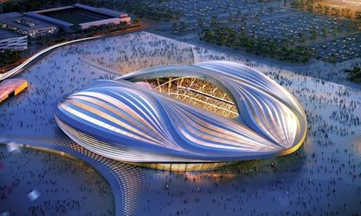 Al-Wakrah stadium in Qatar will play host to the 2022 World Cup. Credit: ZHA architects