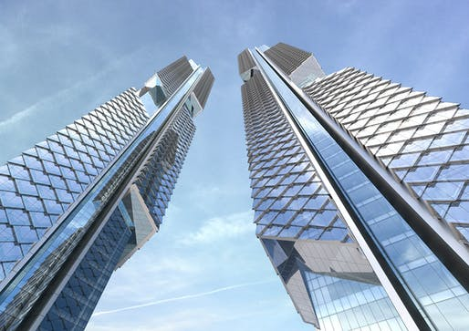 Looking up the AS+GG-designed Dancing Dragons Twin Towers for the new Yongsan International Business District in Seoul, South Korea (Image: Adrian Smith + Gordon Gill Architecture)