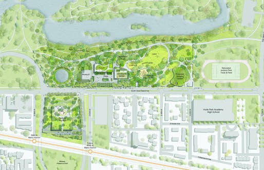 Proposed site plan of the combined park and parking facility for the Obama Presidential Center in Jackson Park on Chicago's South Side (status August 2017). Image courtesy of Obama Foundation.