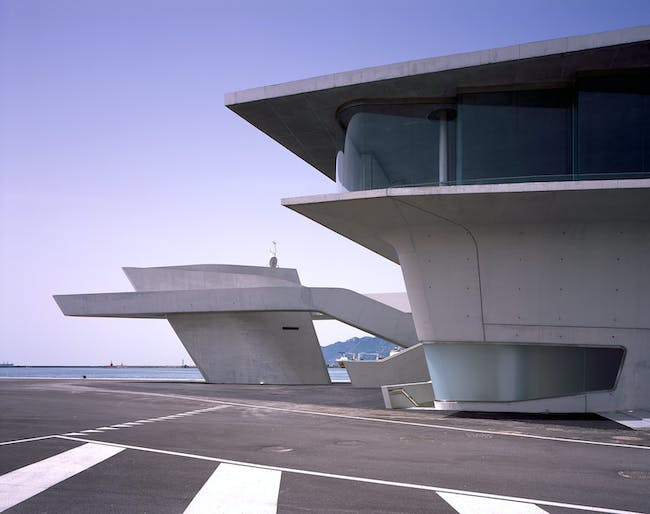 A detail of the maritime terminal. Image credit: Helene Binet / courtesy of Zaha Hadid Architects