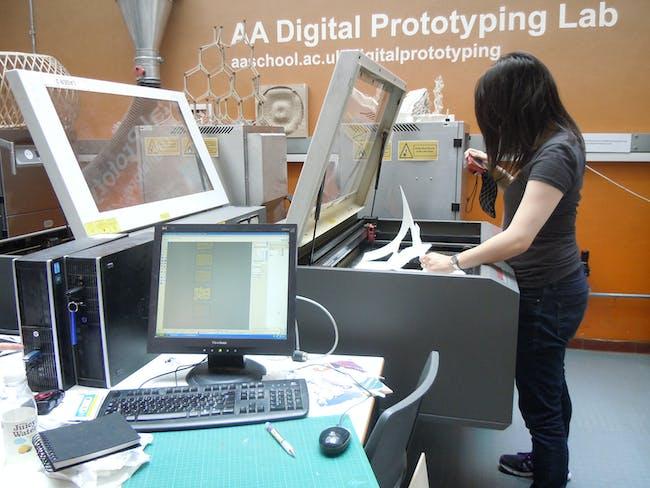 Phase 1: Working at the AA DPL, AA DLAB: Blue, London / Hooke Park, July - August 2013 (photo: Elif Erdine)