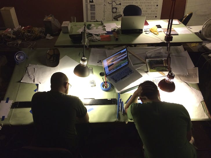 Late night in the Hillside Studio, Taliesin. Photo by Jason Silverman.