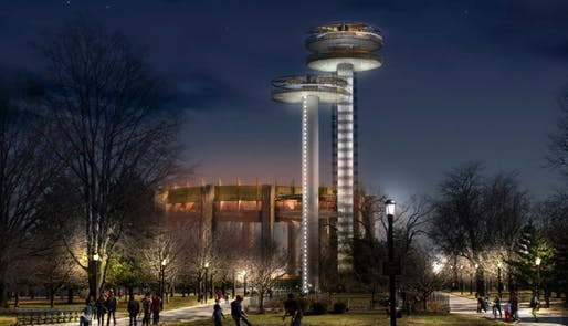 Rendering showing the restored observation towers. Image courtesy of the New York City Parks Department.