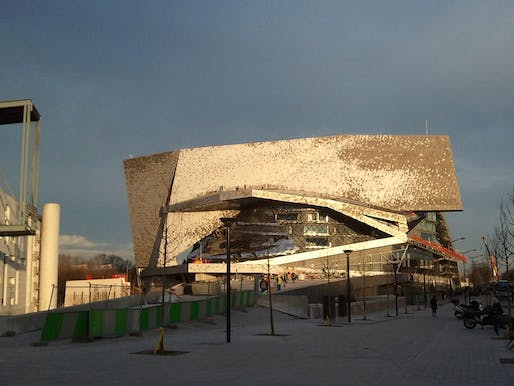 View of the troubled Paris Philharmonie designed by Ateliers Jean Nouvel. Image courtesy of Flickr user Forgemind Archimedia.
