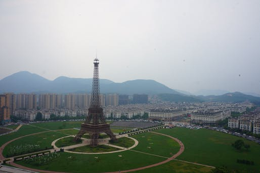 "An Eiffel Tower replica in Hangzhou, China. Image: Wikimedia Commons user <a href=""https://commons.wikimedia.org/wiki/File:201806_Tianducheng_Bird-eye_View.jpg"">MNXANL</a>"