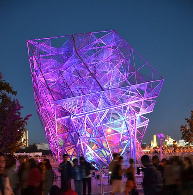 Oyler Wu Collaborative's 'The Cube' at the 2013 Beijing Biennale. Photo: Jason Wheeler.