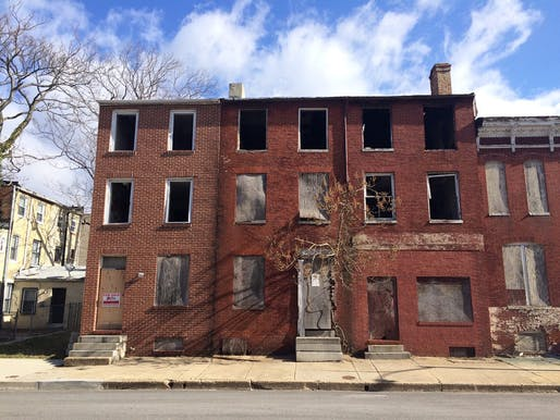 Vacant rowhouses in Baltimore. Photo: Eli Pousson, via Baltimore Heritage/Flickr.