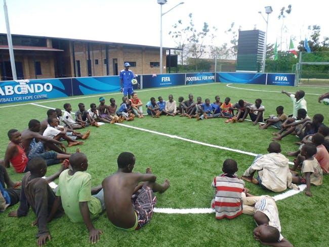 Street children taking part in activities and workshops at the Kabondo Football for Hope Center. Location: Bujumbura, Burundi. Credit: Elena Ghibaudo