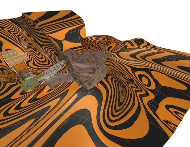 Design model with one of 3 design surfaces highlighted. Surfaces combined with planar cuts to produce a spatial experience that is both abstract and specific to the context.
