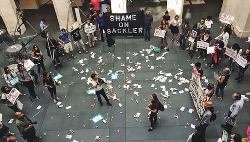 PAIN protesting the Arthur M. Sackler Museum at Harvard last year. Photo via PAIN.