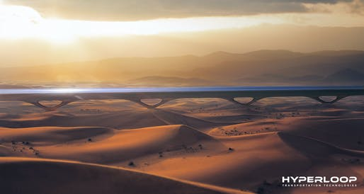 Rendering of HyperloopTT pylon system in UAE, in collaboration with MAD architects. Image: HyperloopTT.