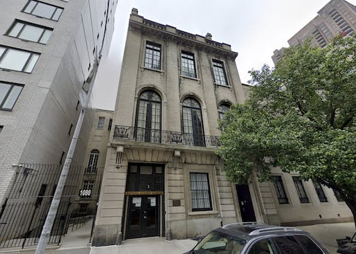 "Current condition of 3 East 89th Street, the former National Academy Museum. Image via <a href=""https://www.google.com/maps/place/3+E+89th+St,+New+York,+NY+10128/@40.7832759,-73.9585392,3a,86.6y,46.27h,115.47t/data=!3m6!1e1!3m4!1sK4JrQFsTZFzvqXG7EuL-ag!2e0!7i16384!8i8192!4m5!3m4!1s0x89c258a28bee6e05:0xac87eec41f876e4d!8m2!3d40.783428!4d-73.958326"">Google Street View</a>."