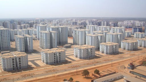 Bird's-eye view of the Chinese-built Kilamba New City in Angola. (Photo: Michiel Hulshof & Daan Roggeveen; Image via qz.com)