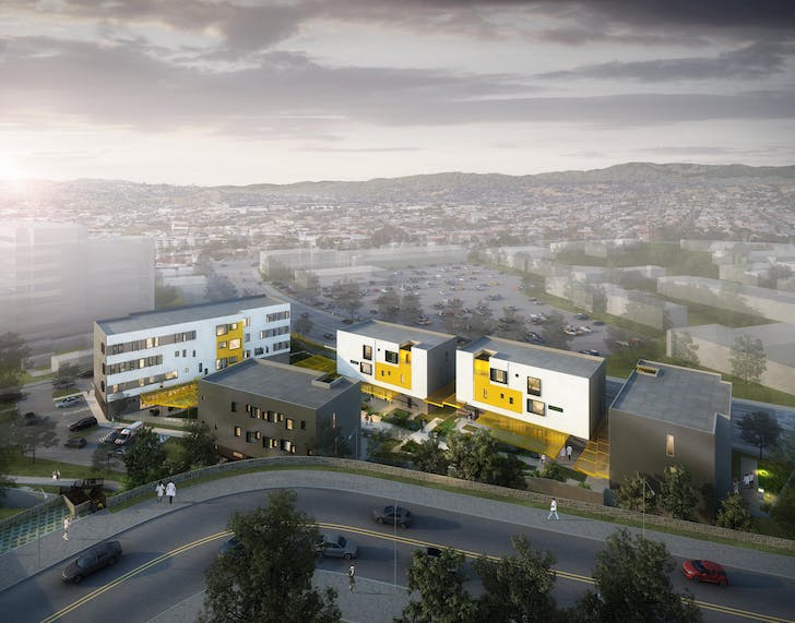NAC Architecture's concept for the LAC+USC Medical Center Restorative Care Village. Rendering courtesy of NAC Architecture