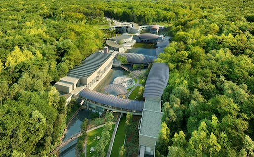 Aerial Rendering of the Crystal Bridges Museum of American Art. Courtesy Safdie Architects.