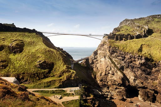 Rendering of the Tintagel Bridge. Image: Ney & Partners, William Matthews Associates, Hayes Davidson, Emily Whitfield-Wicks