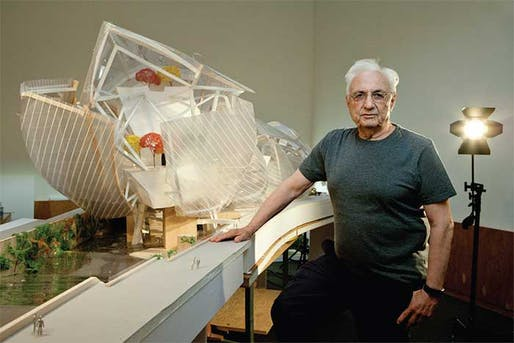 "Sailing away: Frank Gehry with a model of the Fondation Louis Vuitton—""it looked like a regatta to me"". (The Art Newspaper; Photo: © Sébastien MICKE/PARISMATCH/SCOOP)"