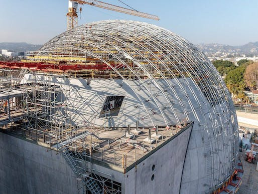 Construction photo of the Academy Museum of Motion Pictures published on June 15 on the museum's Facebook page.