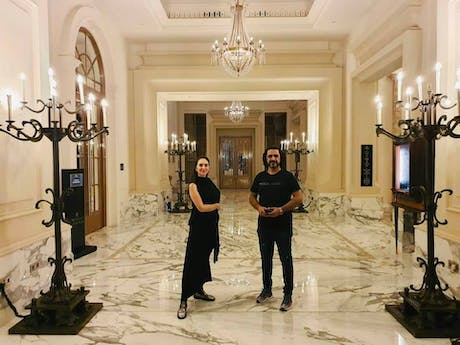 Raya Ani with Hisham Al Thahabi during his visit to attend Arab Hope Makers 2020 in Dubai..... 'The Arab Hope Makers initiative is the largest initiative dedicated to celebrating flashes of hope in the Arab World. The initiative seeks to honor the people that launch humanitarian initiatives, projects and programs that improve their communities, the quality of life in their environments and help those in need, making a positive impact on the lives of people around them. The Arab Hope Maker was...