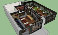 Quick Sketchup renderings - Autocad Drawings - Cafe and Restaurant