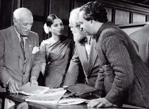 Minnette De Silva with Pablo Picasso, Jo Davidson and Mulk Raj Anand in 1948.