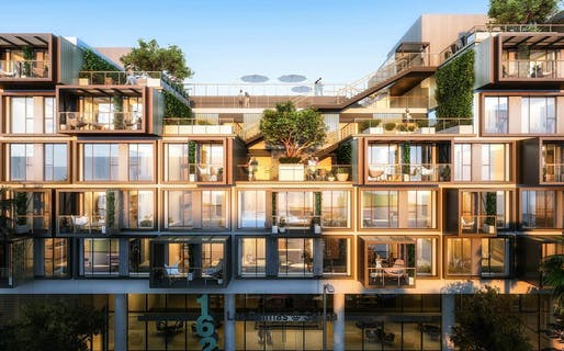L.A. is embracing multi-family prefab construction. Shown: Steinberg Hart's 1601 N. Las Palmas project, a modular apartment block. Image courtesy of Steinberg Hart.