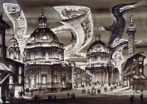 Architectural Capriccio, Piazza Venezia or Two Worlds No. 2 for Film Stage Design Project, St. Petersburg, 2013.
