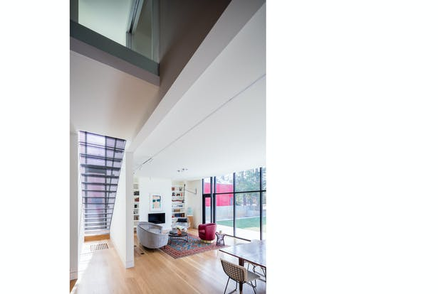 The double-height space marks the moment old meets new.