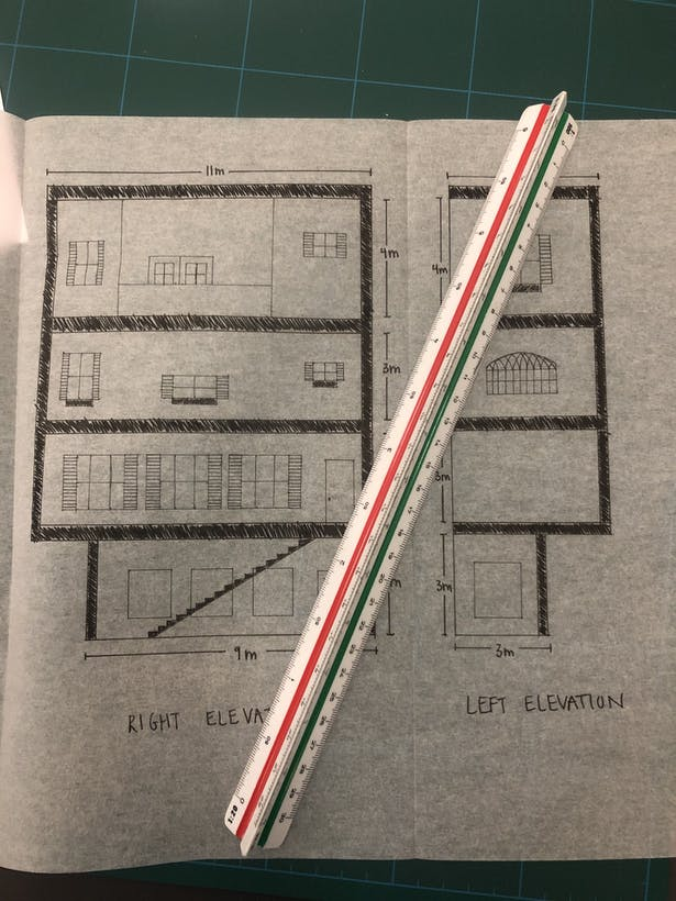Right and left elevations, hand-drawn.