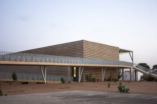 View of access ramps and façade at the Alioune Diop University Teaching and Research Unit, Bambey, Senegal. Photo © Aga Khan Trust for Culture / Chérif Tall.
