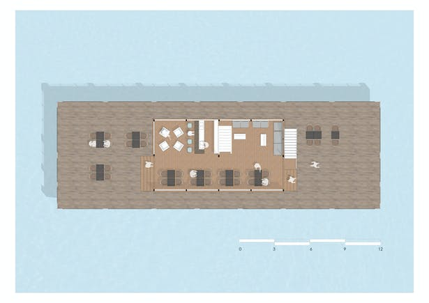 A floor plan of the Floating Restaurant at Goa