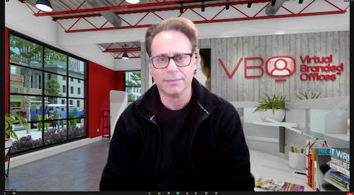 """Ken Gruskin with his company's """"virtual branded office"""" video background. All images: Gruskin Group"""