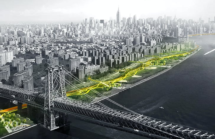 Illustration of the BIG-led 'BIG U' resiliency proposal for Lower Manhattan. Image courtesy of BIG (Bjarke Ingels Group).