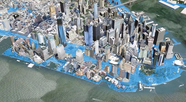 A computer simulation of flooded zones in New York in 2050, based on calculations by the New York Office of Long-Term Planning and Sustainability. According to calculations, the sea level in the city could rise by more than three-quarters of a meter (2.5 feet) by 2050, and by one-and-a-half meters 30 years later. (Caption & Image: Der Spiegel)