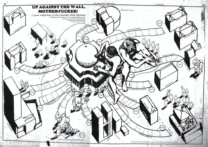 'Up Against the Wall, Motherfucker' by Jim Dunnigan. A game supplement to the March 11, 1969 issue of the Columbia Spectator. Image used with permission from Jim Dunnigan