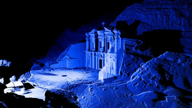 Point Cloud & CGI Image of the Monastery, Petra. Courtesy of Atlantic Productions