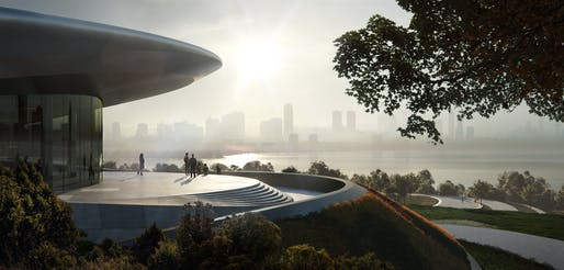 Start-up exhibition and conference center at Unicorn Island by Zaha Hadid Architects, Chengdu. Rendering: MIR.