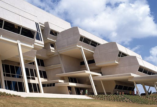 Paul Rudolph designed the Elion-Hitchings Building for the Burroughs Wellcome Company in 1969. Image courtesy of the Paul Rudolph Heritage Foundation.
