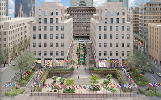 A plan to revamp the sunken plaza and other areas at Rockefeller Center has been unveiled. Image courtesy of Gabellini Sheppard Associates, LLP.