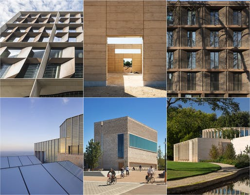 Mirror, mirror, on the wall: Bloomberg HQ, Bushey Cemetery, Chadwick Hall, Sultan Nazrin Shah Centre, Storey's Field Centre and Eddington Nursery, New Tate St Ives (clockwise from top left). Photos: Nigel Young, Lewis Khan, Nick Kane, Alan Williams, Hufton&Crow.