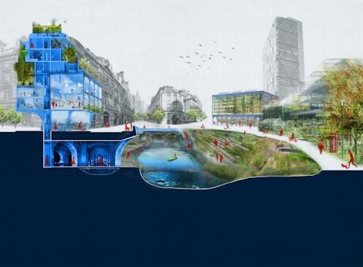 """""""MUDLARKING: Restoring Riparian Corridors to The City"""", designed by Douglas Bergert, Vanessa Eickhoff, Jeremiah Collatz, and Anna Greene. Image: Perkins&Will"""