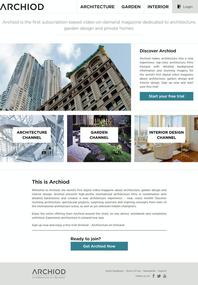 Archiod - Video on Demand Service for Architecture, Garden Design & Private Homes.