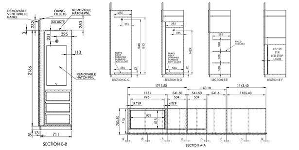 Millwork shop drawing for fabrication and installation