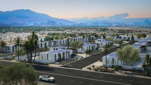 Rendering of the planned development in Rancho Mirage, California. Image courtesy of Mighty Buildings/EYRC Architects.