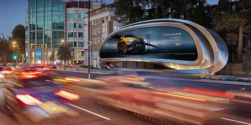 Zaha Hadid Architects redesign the billboard as public art, located in London, EN. Image: TheDrum.